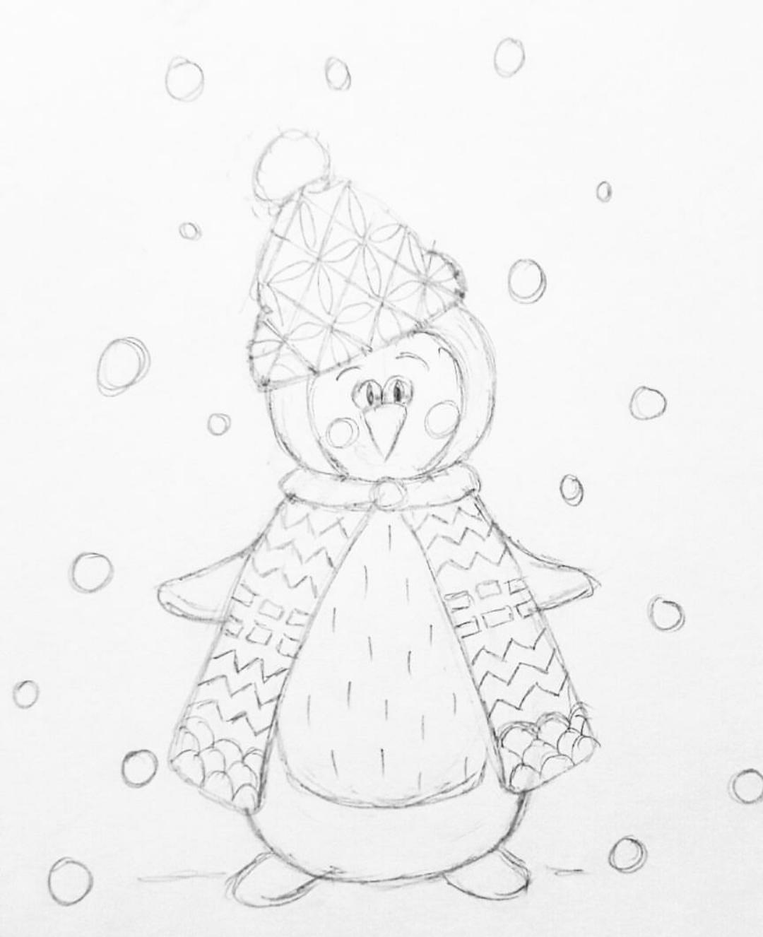 skizze-pinguin