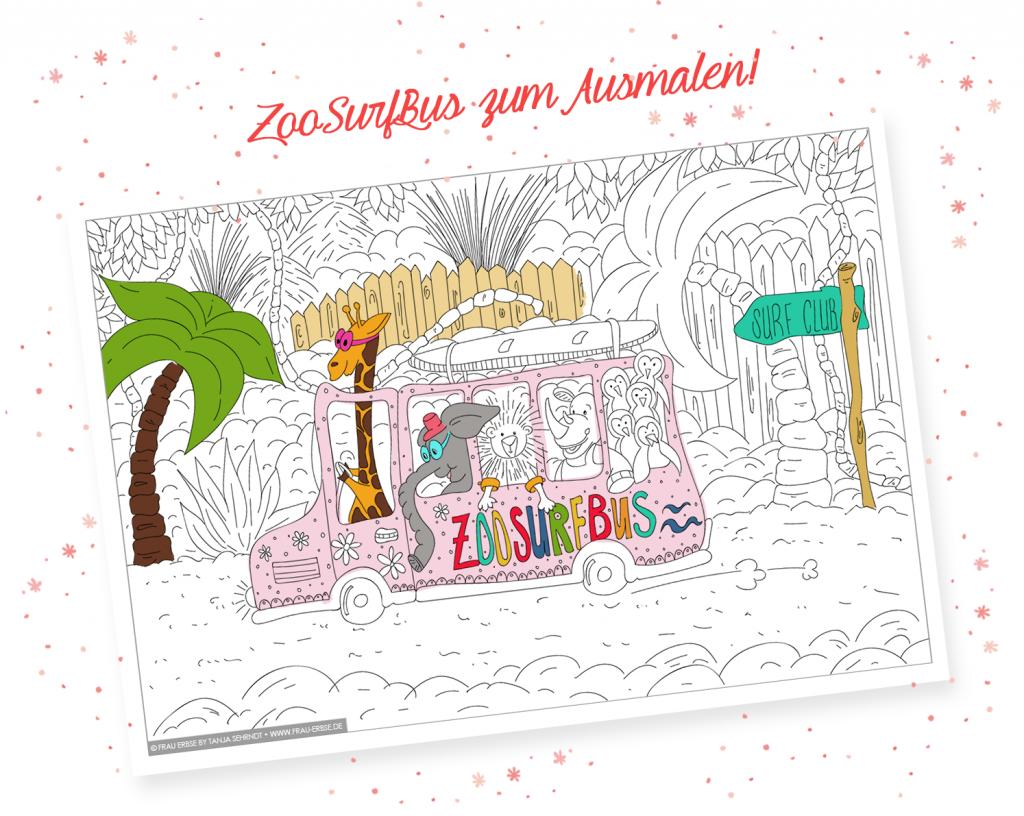 ZooSurfBus - Ausmalbild zum Ausdrucken