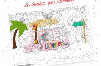 Werbung ZooSurfBus Ausmalbild