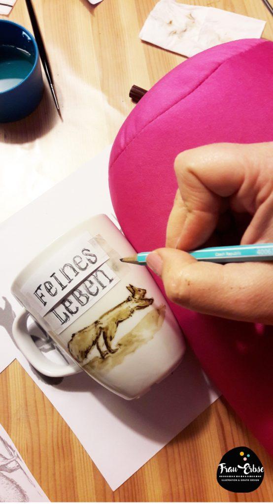Tassenlettering mit Aquarelleffekt