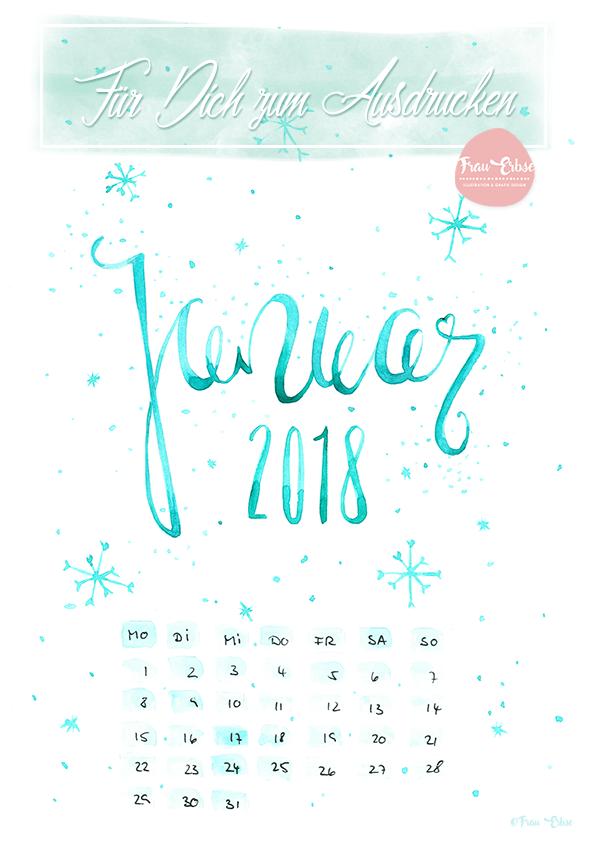 Kalenderblatt Januar 2018 als FREEBIE