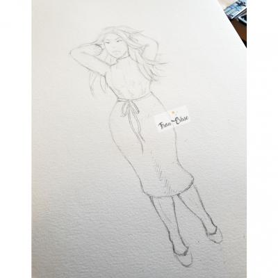 (Curvy) Modeillustration Bleistift