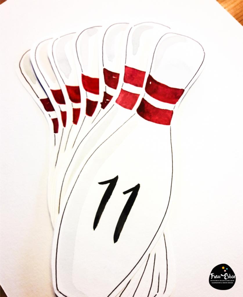 Bowling Einladungskarten Watercolour