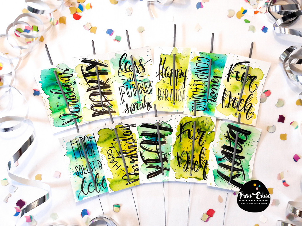 Brushlettering Watercolour Geldgeschenkekärtchen