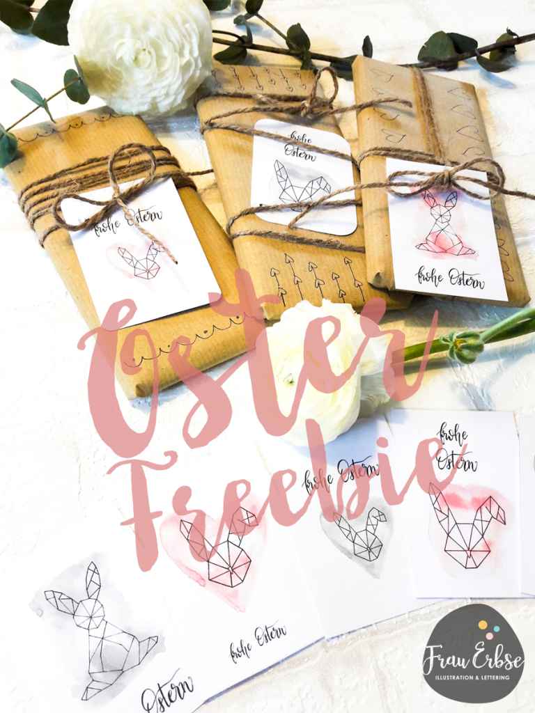 Last Minute Osterkarten Freebie Brushlettering Watercolour
