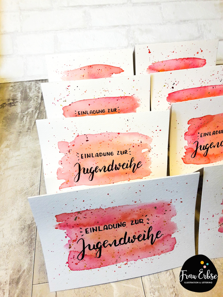 Einladungskarten Jugendweihe Bruhslettering Watercolour